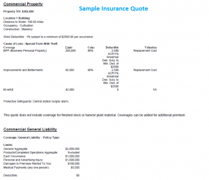Sample Insurance Quote